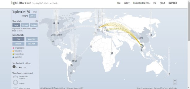 Screenshot of Digital Attack Map. DDoS of Thailand.